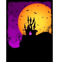 Haunted house on a graveyard hill eps 8 vector