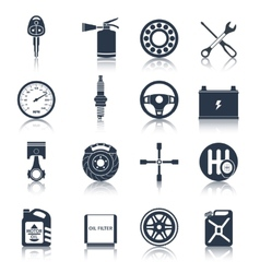 Car parts icons black vector