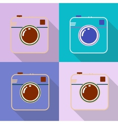 Hipster photo or retro camera icon with shadow vector