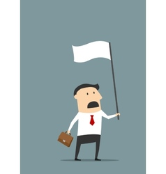 Cartoon flat businessman with white flag vector