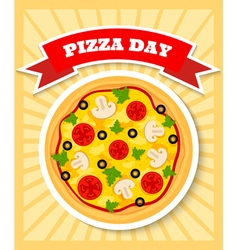 Vegetarian pizza day vector