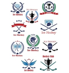 Ice hockey sport game emblems vector image