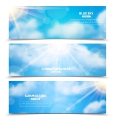 Sun through clouds sky banners set vector