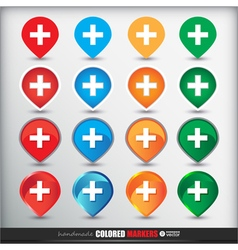 Four sets of four positions of map Colored Button vector image