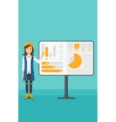 Woman presenting report vector