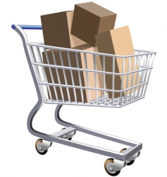 Shopping cart full of parcels vector