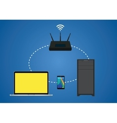 Router wifi connection between notebook pc vector