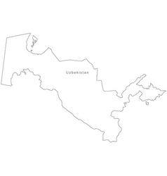Black White Uzbakistan Outline Map vector image