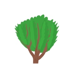 Tree with green leaves icon cartoon style vector image