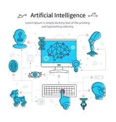 Artificial intelligence line poster vector