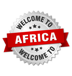 Africa 3d silver badge with red ribbon vector