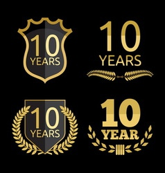 Anniversary set 10 years resize vector image