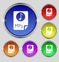 Audio mp3 file icon sign round symbol on bright vector