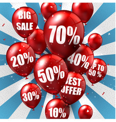 balloons and discounts background vector image