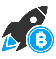 bitcoin rocket flat icon vector image vector image