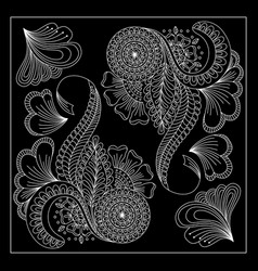 Black and white floral bandana print vector