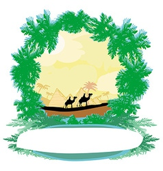 Camel caravan in wild africa - abstract frame vector