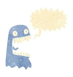cartoon gross ghost with speech bubble vector image vector image