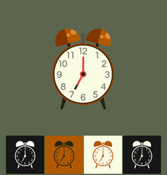 clock icon flat on different vector image vector image