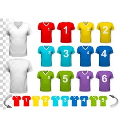 Collection of various colorful soccer jerseys with vector