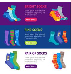 colorful fun socks banner horizontal set vector image vector image