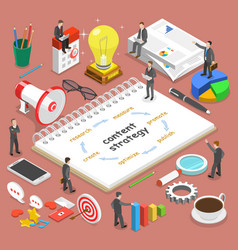Content strategy flat isometric concept vector