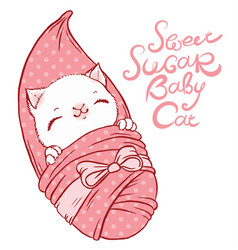 Cute little kitten in diapers with a bow vector