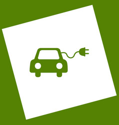 Eco electric car sign white icon obtained vector