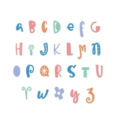 Funny hand drawn colorful alphabet vector
