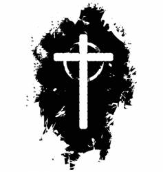 Grunge christian cross vector