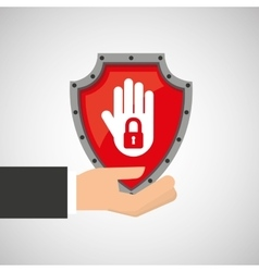 Hand holding no access data protection vector