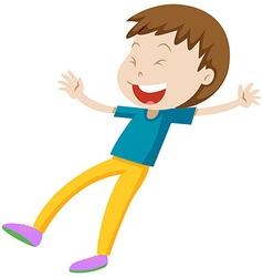 Little boy in blue shirt laughing vector