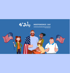 Mix race people hold united states flag vector