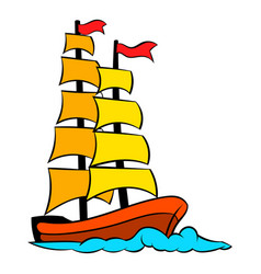 Old sailing ship icon icon cartoon vector