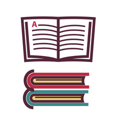Opened and closed books vector