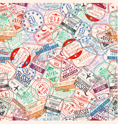 Passport stamp seamless pattern international vector