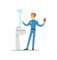 Proffesional plumber man character repairing vector