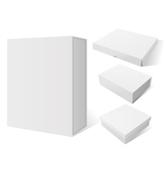 Realistic set white package mockup box vector