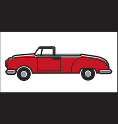 red colored retro car vector image
