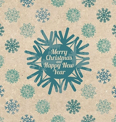 Retro Christmas greeting card with snowflakes vector image