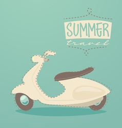 retro scooter summer travel vintage scooter post vector image