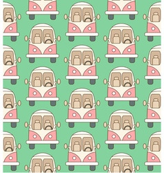 Seamless pattern made of cartoon buses vector