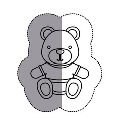 silhouette teddy bear with shirt icon vector image