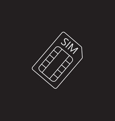 Sim card line icon outline logo vector