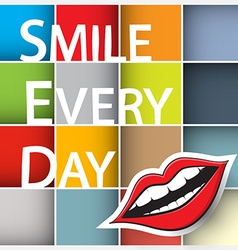 Smile every day slogan colorful squares with paper vector
