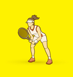 tennis player action woman play tennis vector image vector image