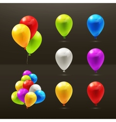 Toy balloons set of icons on black vector image