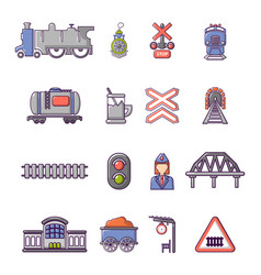 Train railroad icons set cartoon style vector