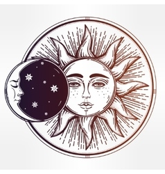 Vintage hand drawn sun eclipse vector image vector image