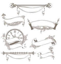 vintage ribbons and banners vector image
